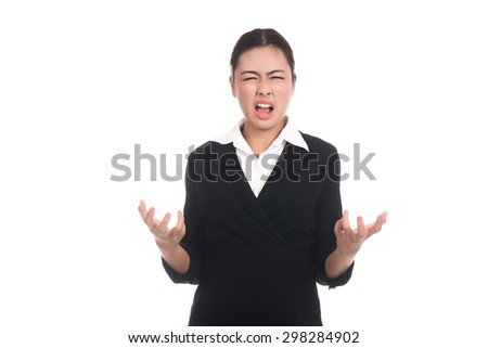 Angry young business asian woman with blank copy space area for text,frustrated,screaming,Thai girl,isolated on white background - stock photo