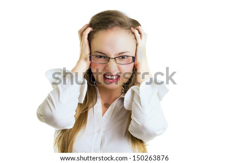 Angry young businesswoman with glasses, hands trough the hair, close-up, half body, isolated on white, studio shoot.  - stock photo