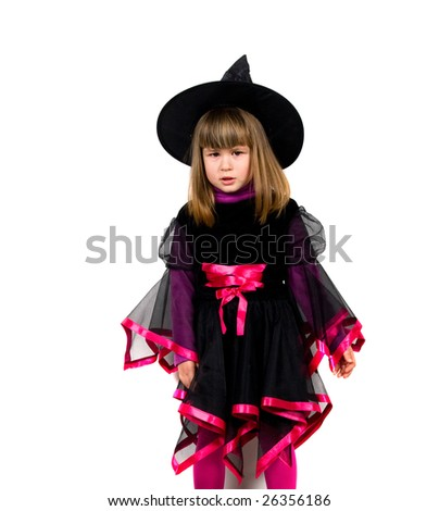 angry young girl whit carnival suit - stock photo