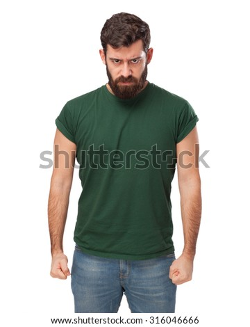 angry young man disagree sign - stock photo