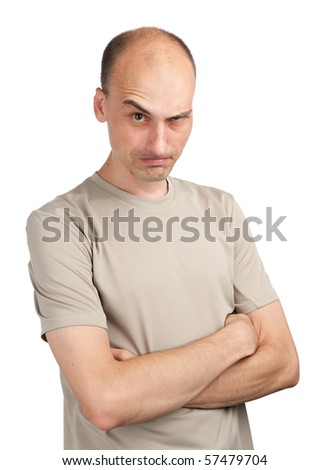 Angry young man isolated on a white background - stock photo