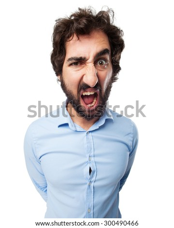 angry young man shouting - stock photo