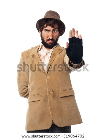 angry young man stop gesture