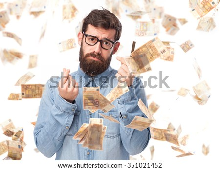 angry young man with credit card - stock photo