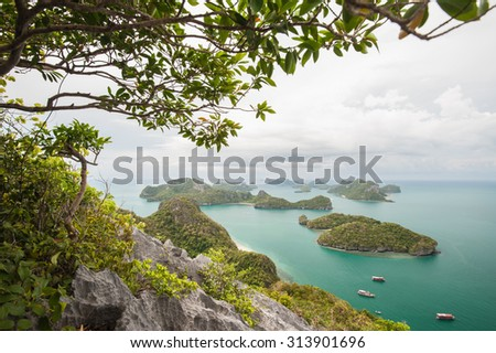 Angthong National Marine Park during a wind storm and rain.  - stock photo
