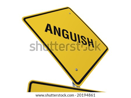 Anguish Yellow Road Sign against a White Background