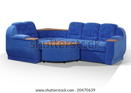 angular sofa of dark blue color with the padded stool-stand on a white background