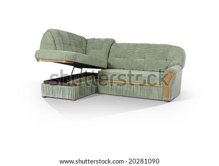 angular sofa with box on a white background - stock photo