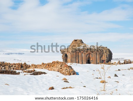 Ani Ruins, Ani is a ruined and uninhabited medieval Armenian city-site situated in the Turkish province of Kars  - stock photo