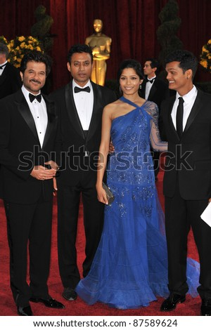 Anil Kapoor & Irrfan Khan & Freida Pinto & Madhur Mittal at the 81st Academy Awards at the Kodak Theatre, Hollywood. February 22, 2009  Los Angeles, CA Picture: Paul Smith / Featureflash