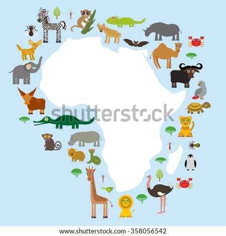 Animal Africa: parrot Hyena Rhinoceros Zebra Hippopotamus Crocodile Turtle Elephant Mamba snake camel mosquito tsetse ostrich lemur Chameleon Monkey Fennec fox Leo Leopard Giraffe buffalo Penguin.  - stock photo
