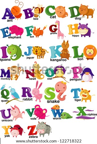 ANIMAL ALPHABET LETTER - A-Z .JPG (EPS vector version id 106713716,format also available in my portfolio) - stock photo