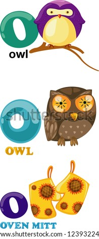 Animal alphabet letter - O .JPG (EPS vector version id 116832352,format also available in my portfolio) - stock photo