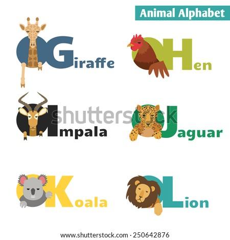 Animal alphabet. Letters G H I J K L  Illustration - stock photo