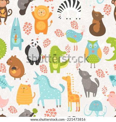 Animal background with cute bird, alligator, dog, hen, rabbit, owl, zebra, vole, wolf, unicorn, lion, koala, monkey, giraffe, panda and cat. Zoo love seamless pattern isolated on hand drawn background - stock photo