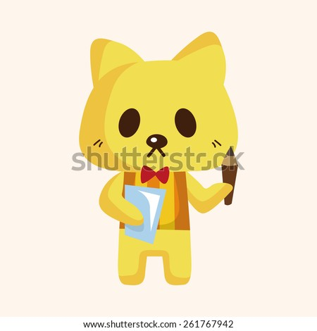 animal cat waiter cartoon theme elements - stock photo
