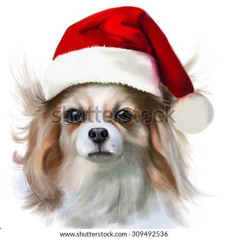 Animal collection: portrait of Papillon in the hat of Santa Claus, watercolor illustration - stock photo