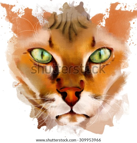 Animal collection: portrait of red-haired Sphinx. Watercolor illustration - stock photo