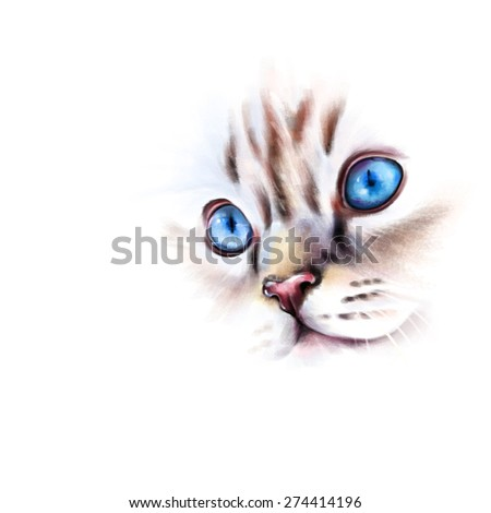 Animal collection: portrait of white, blue-eyed cat, on a white background, watercolor illustration - stock photo