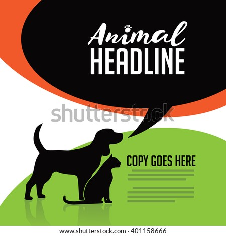 Animal dog and cat poster, infographic, advertising web page or marketing template with copy space.  - stock photo