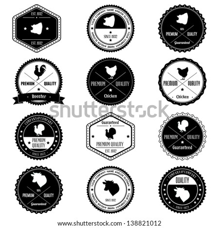Animal Farm Collection vintage badges - stock photo
