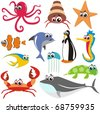 Animal Fish Set:  crab, octopus, fish, shark, turtle,  jellyfish,  whale, sea horse, star - stock vector