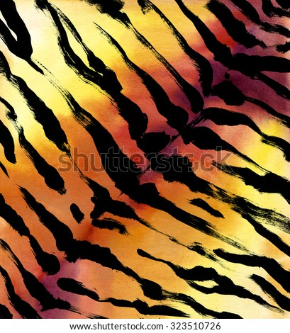 animal fur background. tiger skin abstract exotic fur watercolor hand drawn background. watercolor illustration