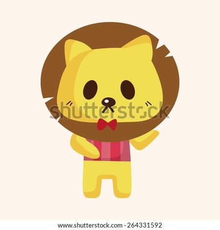 animal lion waiter cartoon theme elements - stock photo