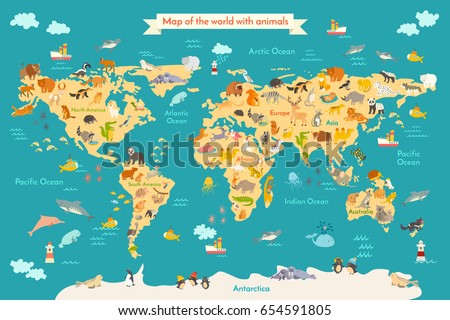 Animal map kid world poster children ilustracin de stock654591805 animal map for kid world poster for children cute illustrated preschool cartoon globe gumiabroncs Choice Image