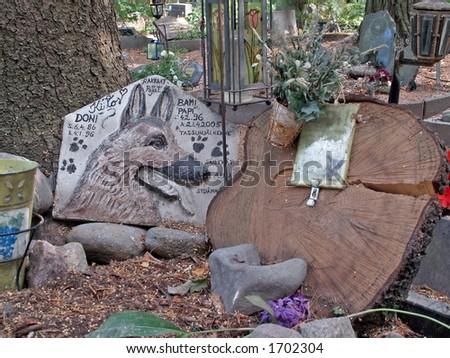 animal memorial signs - stock photo