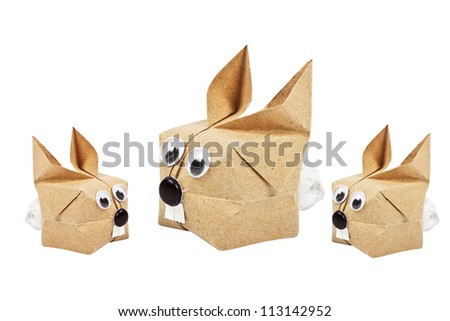 animal origami recycle paper - stock photo