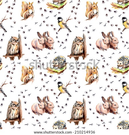 Animal pattern with foot print. animals and birds: squirrel, rabbits, hedgehog, owl, tit bird. Watercolor seamless  - stock photo