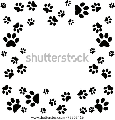 Animal paws border - stock photo