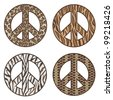 Animal Print Peace Symbols Leopard, tiger, zebra and snake designs. - stock photo