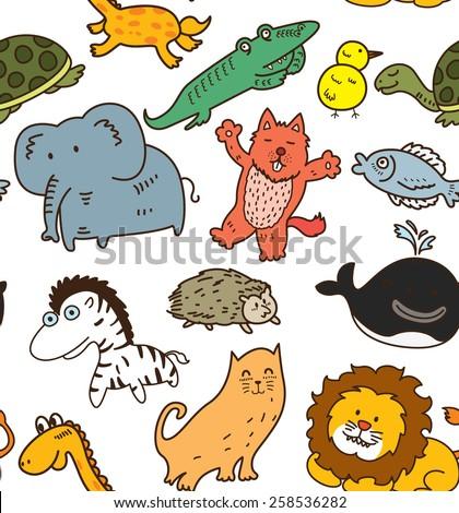animal seamless background - stock photo
