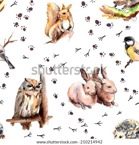 Animal seamless pattern with footprint. Forest animals and birds: squirrel, rabbits, hedgehog, owl, tit bird. Watercolor - stock photo