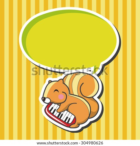 animal squirrel playing instrument cartoon, cartoon speech icon