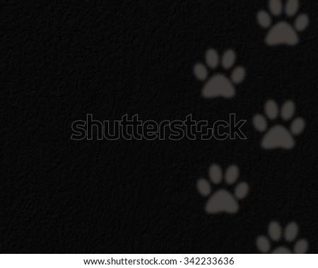 Animals footprints on a black background - stock photo