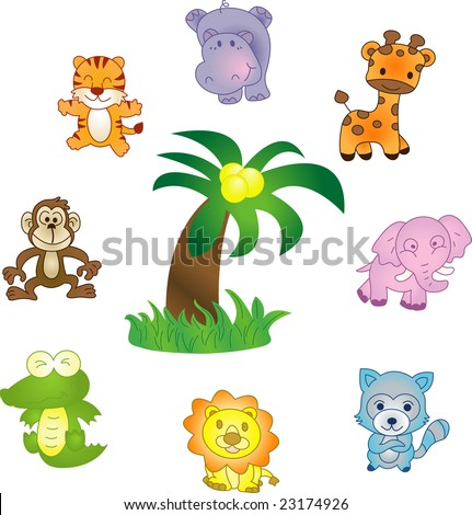 "Animals icons - illustration. Vector version of this image (""*.eps"") also available in my portfolio."