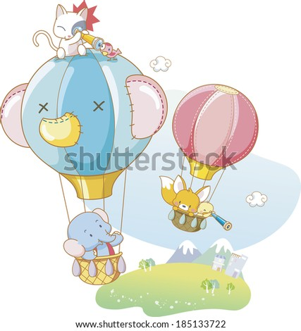 Animals in hot-air balloons - stock photo