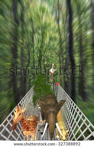 animals in  shopping cart, environmental destruction concept - stock photo