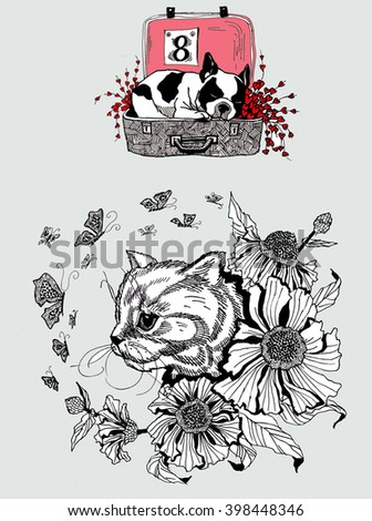 Animals ink drawing for your illustration and decoration needs.  - stock photo