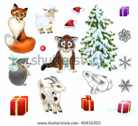 Animals note new year - stock photo