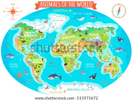 Animals World Flat Style World Globe Stock Illustration 515971672