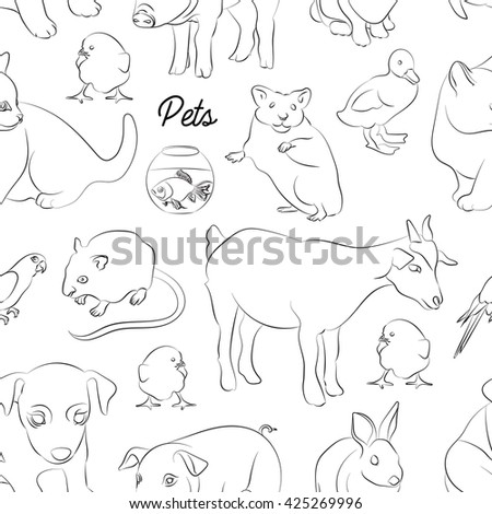 Animals pets pattern. Illustrations of various domestic - dog, cat, parrot, fish, pig, bunny and other