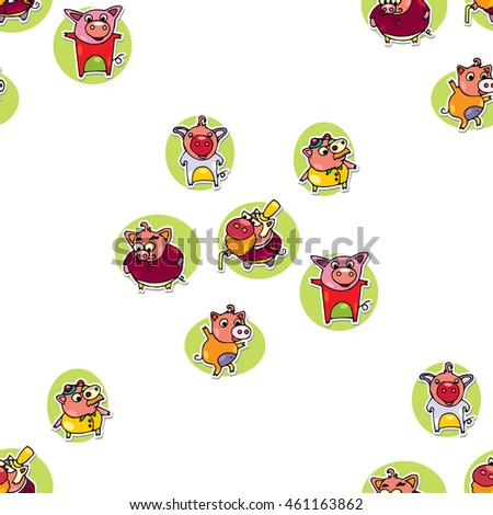 Animals Seamless pattern with cartoon pigs. Hand drawn piggy in doodles style image can use for Fabric