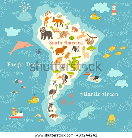 animals world map south america south american animals poster south america mammals cartoon