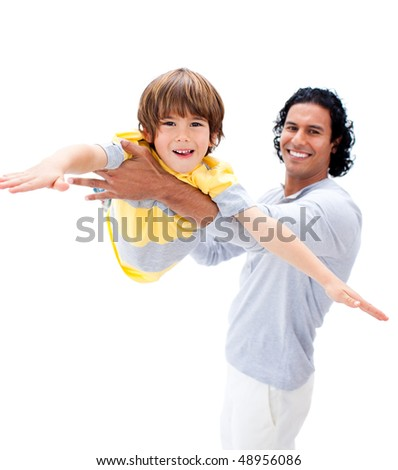 Animated father and his son playing together isolated on a white background - stock photo