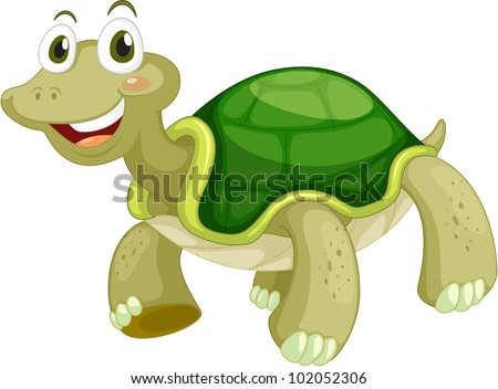Animated turtle on a white background - EPS VECTOR format also available in my portfolio. - stock photo