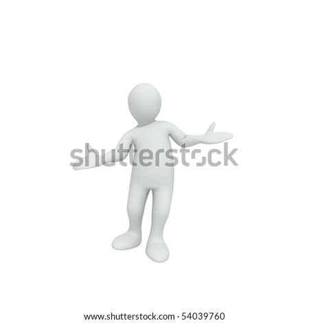 Animation of a little man making moves against a white background